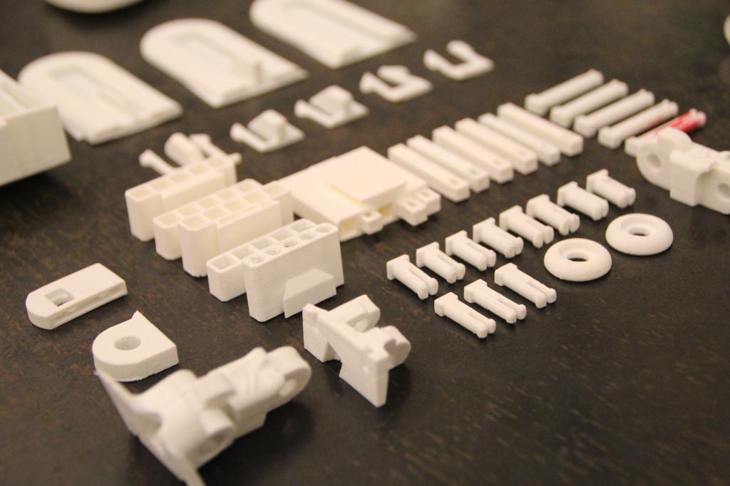 By just printing parts of teh palm, gauntlet, and fingers, we could test fit and motion much faster than by printing out the entire part.