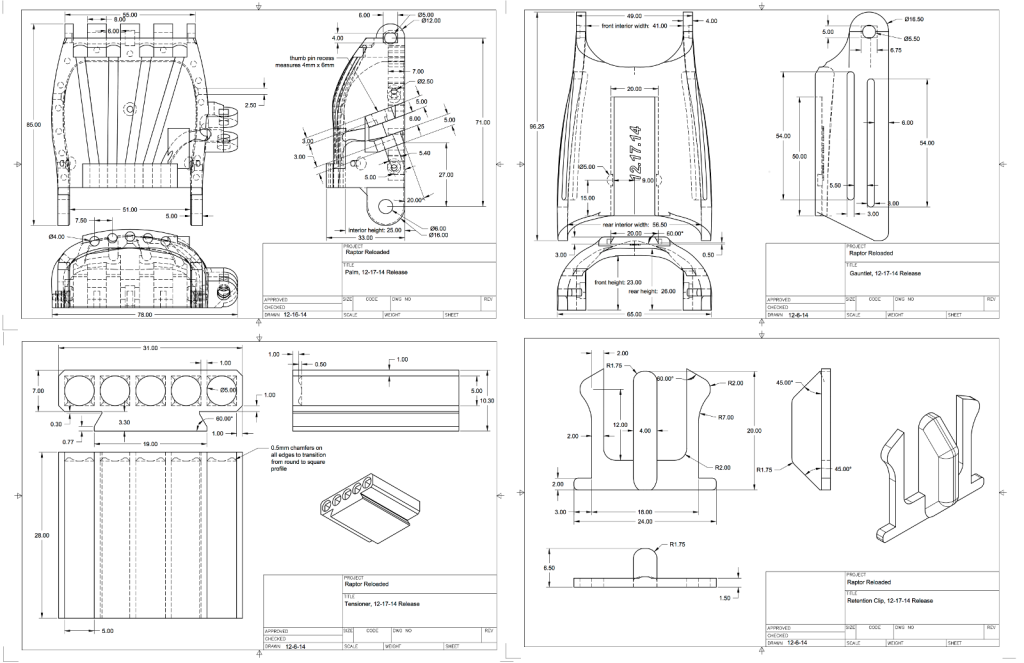Every part of the Raptor Reloaded has been carefully diagramed to allow designers to leverage the design's modularity and make compatible parts.