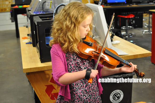 Shea tests out her new viola bow holder device!